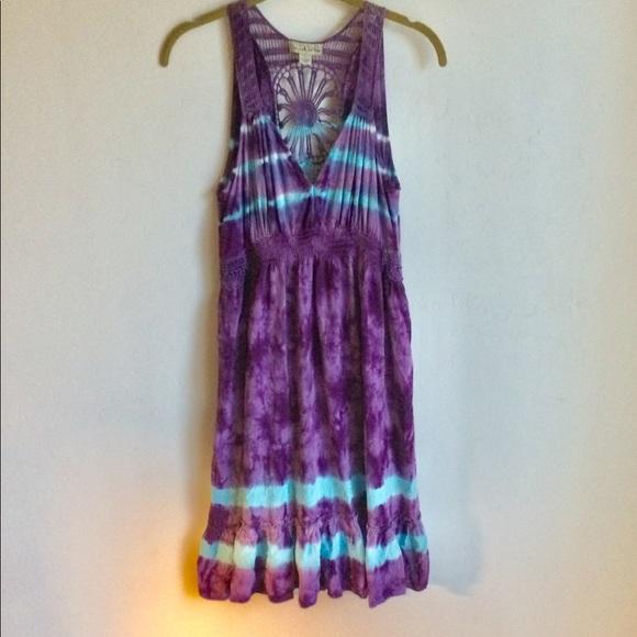 live and let live Dresses & Skirts - Live and Let Live Plum Crochet Print Dress Size L